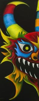 Teufel Maske | Adelso Bausdorf | Öl auf Holz | 2015