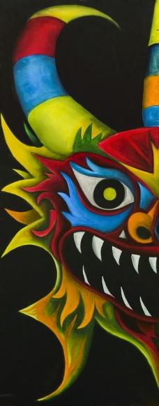 Teufel Maske   Adelso Bausdorf   Öl auf Holz   2015