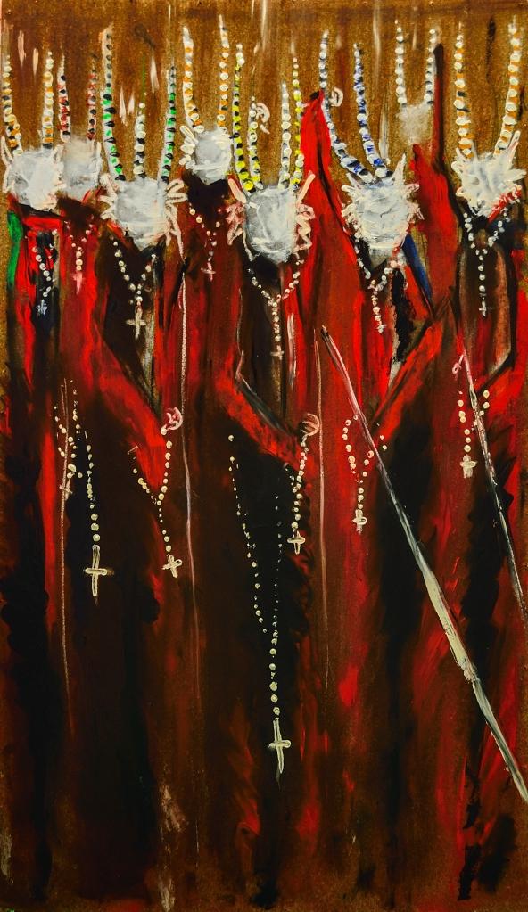 Prozession Teufeln | Adelso Bausdorf | Öl auf Holz | 2015